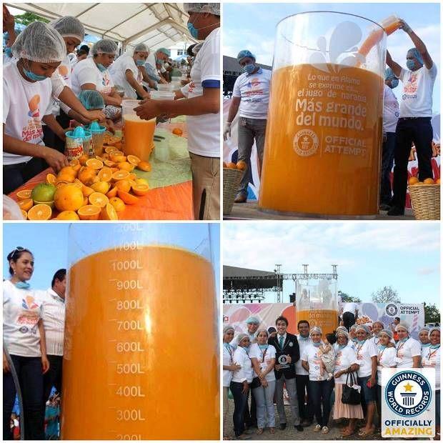 Maior copo de suco de laranja do mundo é feito no México / Reprodução/Facebook/Guinness World Records