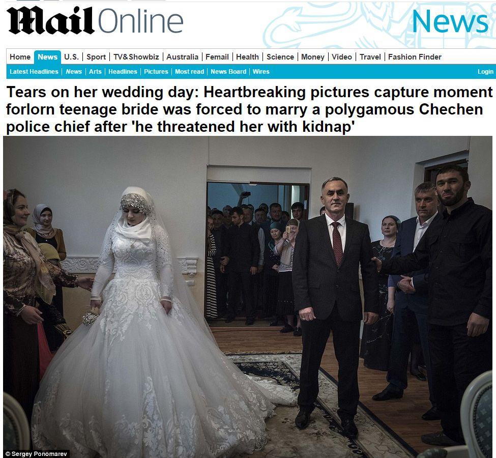Adolescente é forçada a se casar na Chechênia / Reprodução/Daily Mail