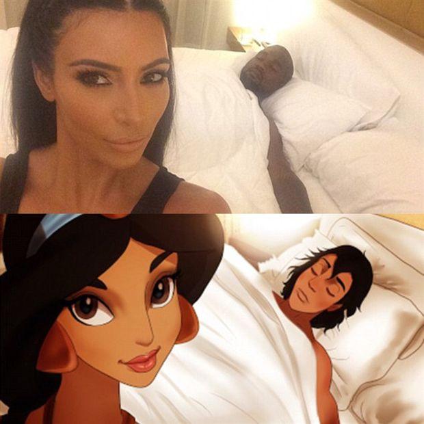 Princesas são colocadas na pele de Kim Kardashian