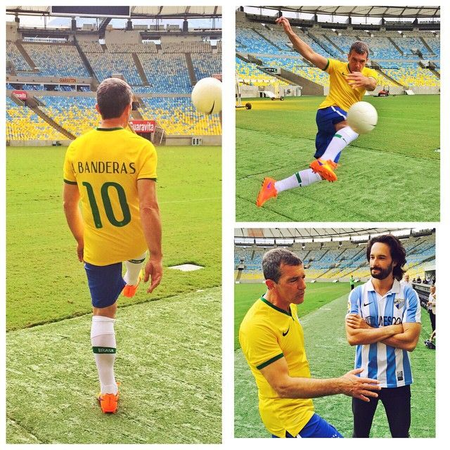 Antonio Banderas e Rodrigo Santoro jogam futebol no RJ / Divulgação/Instagram