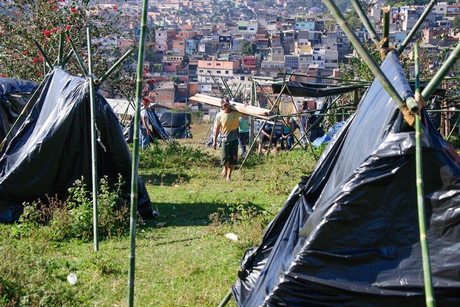 Movimento já começou a montar barracas no local / Peter Leone/futura Press/Futura Press/Folhapress