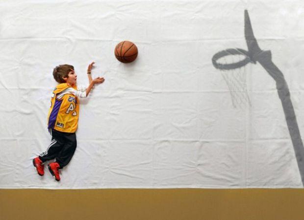 Luka joga basquete em ensaio