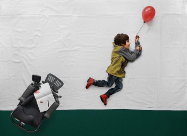 Luka anda de balão em ensaio