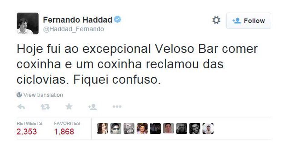 Haddad usou o Twitter para fazer piada com coxinha / Reprodução/Twitter