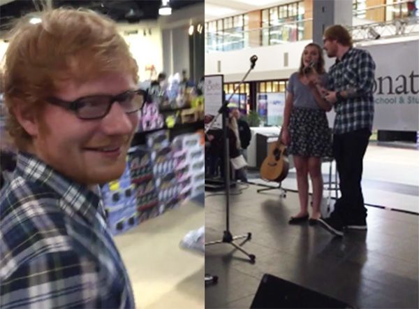 Ed Sheeran faz dueto com fã em shopping / Reprodução/YouTube