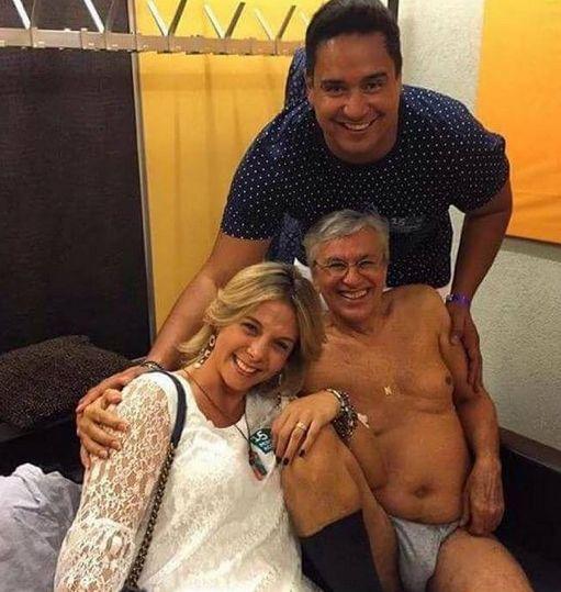 Caetano recebeu Xandy e Carla Perez em camarim / Divulgação/Instagram