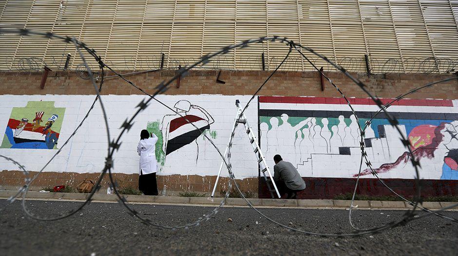 Iêmen: ativistas protestam contra bombardeios com grafites