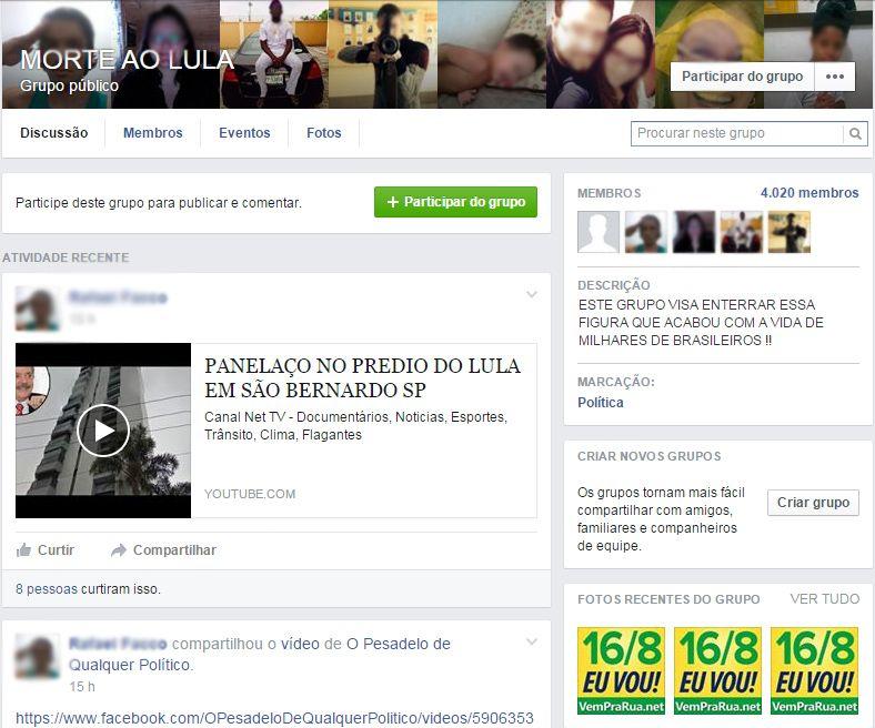 Comunidade do Facebook que é repudiada pelo Instituto Lula / Reprodução/Facebook