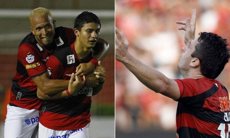 Junior e Elkesson (à esq.), pelo Vitória e Elias, pelo Atlético-GO, são as esperanças dos times na luta contra o rebaixamento