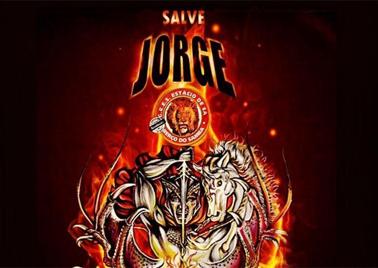Cartaz do enredo sobre São Jorge da Estácio de Sá: no desfile, nada de nudez