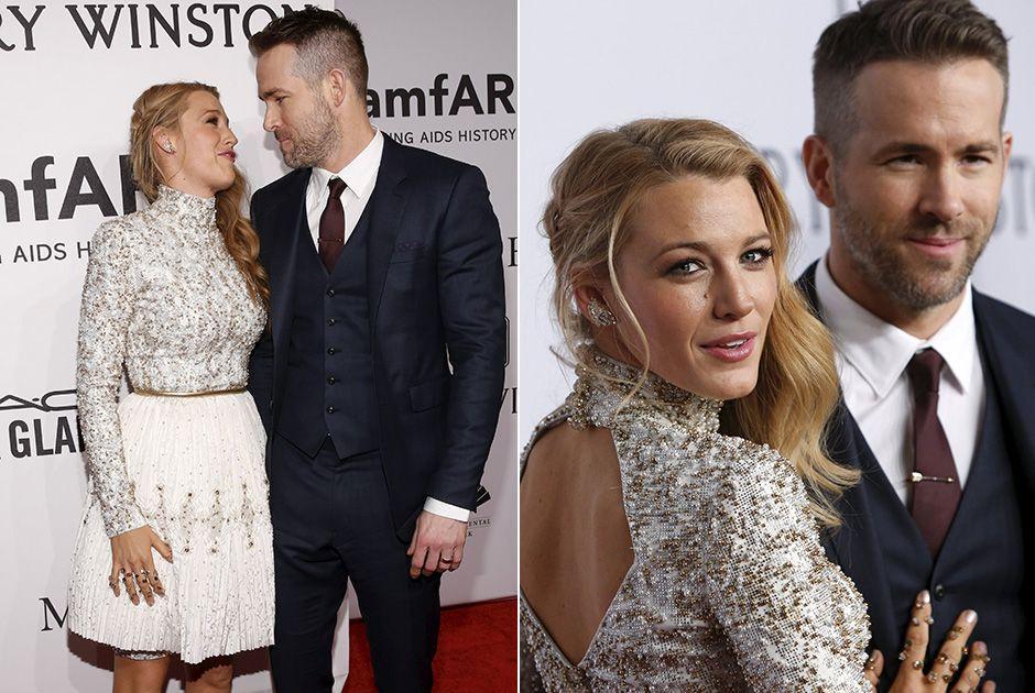 Blake Lively e Ryan Reynolds fazem pose apaixonada