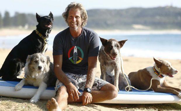 Treinador australiano usa surfe para disciplinar cães