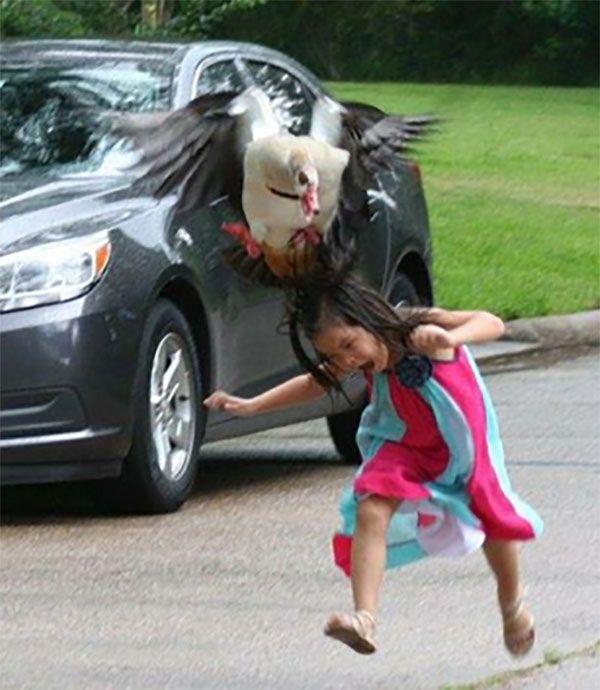 Garotinha de 5 anos é atacada por ganso maldito e fotos viralizam