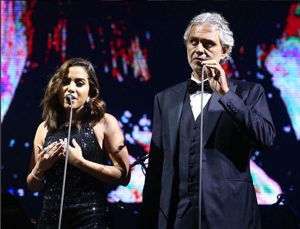 Anitta cantou ao lado de Andrea Bocelli