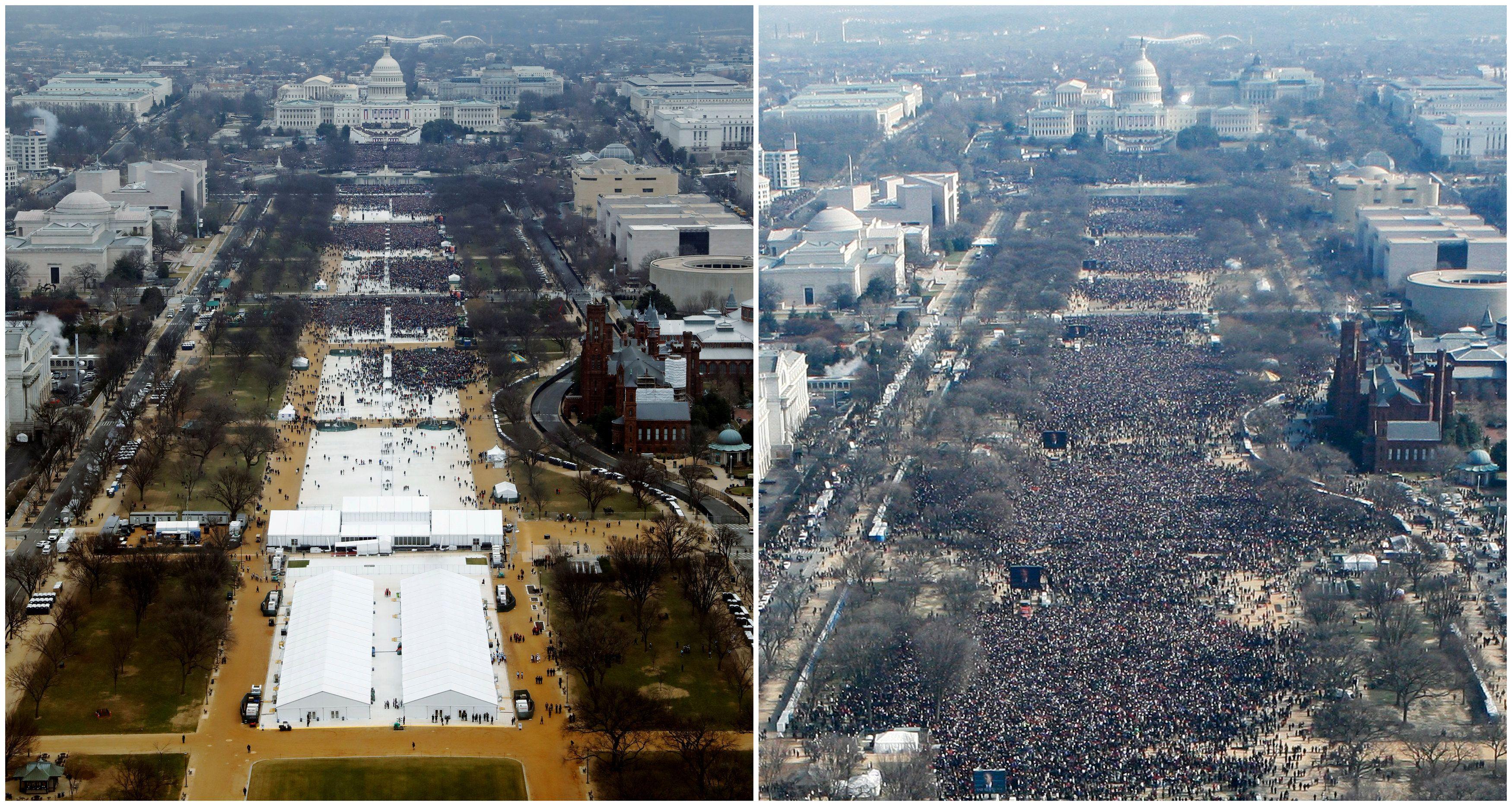 Imagem aérea mostra diferença na multidão entre posse de Trump e Obama