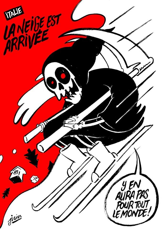 Charlie Hebdo ironiza avalanche na Itália em nova charge