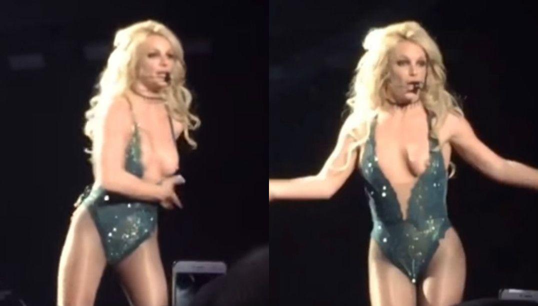Britney Spears se descuida e mostra seio em show; veja