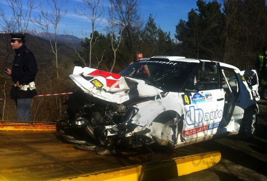 Carro de Kubica depois do acidente na Itália