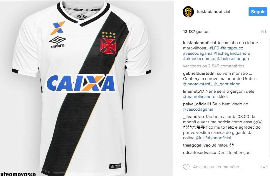 Post de Luis Fabiano no Instagram