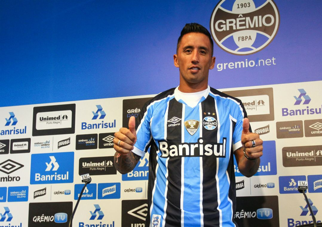 Barrios foi o principal reforço do time tricolor nesta temporada / Lucas Uebel/Grêmio