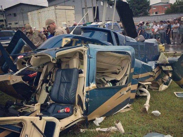 Queda de helicóptero deixa feridos no Paraná