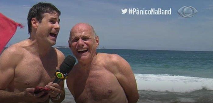 Vesgo e Ricardo Boechat vão a praia no Rio de Janeiro / Divulgação / Band