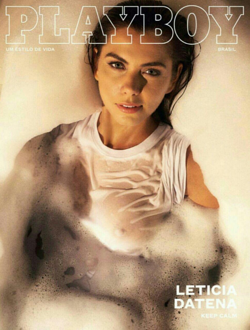 Leticia Datena aparece de camisa branca molhada em ensaio