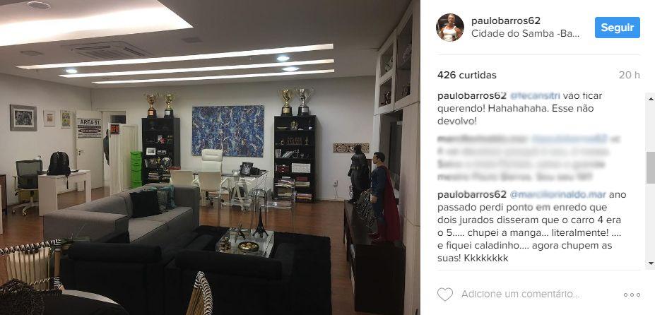 Paulo Barros rebate seguidor no Instagram