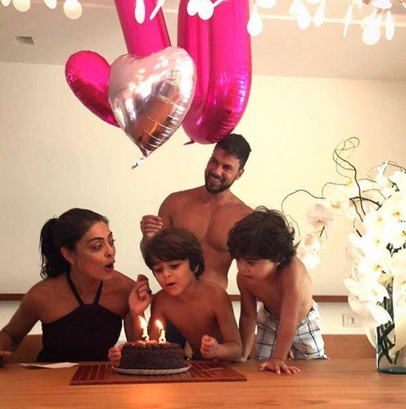 Juliana Paes comemora aniversário em família