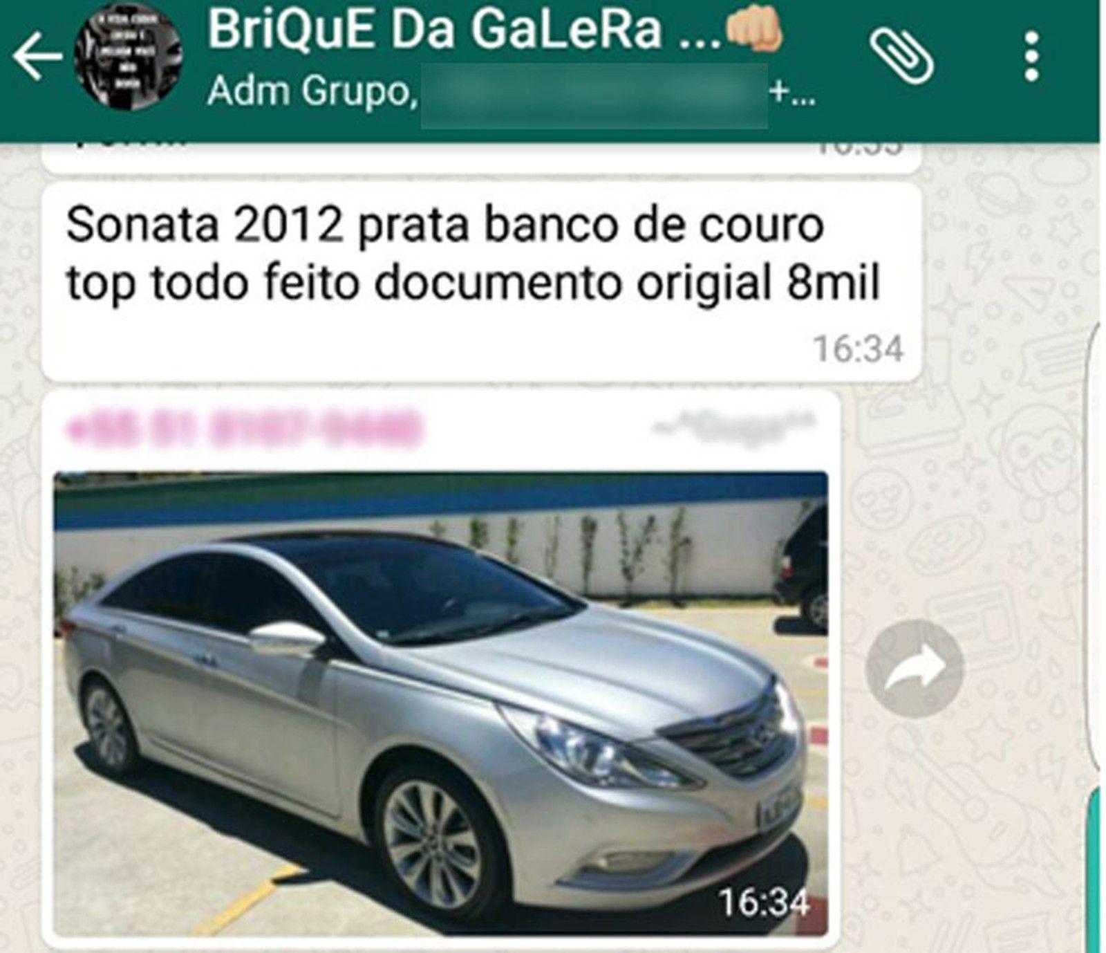 Quadrilha vendia carros roubados pelo WhatsApp