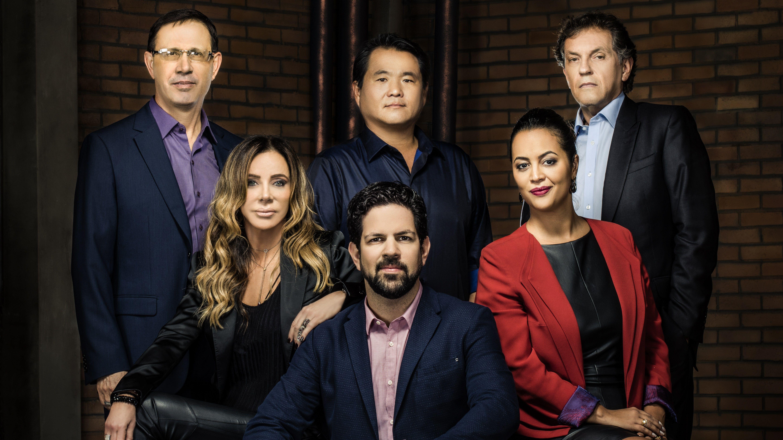 Carlos Wizard, Srocaba, Camila Farani, Robinson Shiba, Cris Arcangeli e João Appolinário são os tubarões  / Divulgação - Band