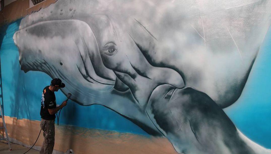 Museu Catavento terá pintura de baleia Jubarte 3D em tamanho real