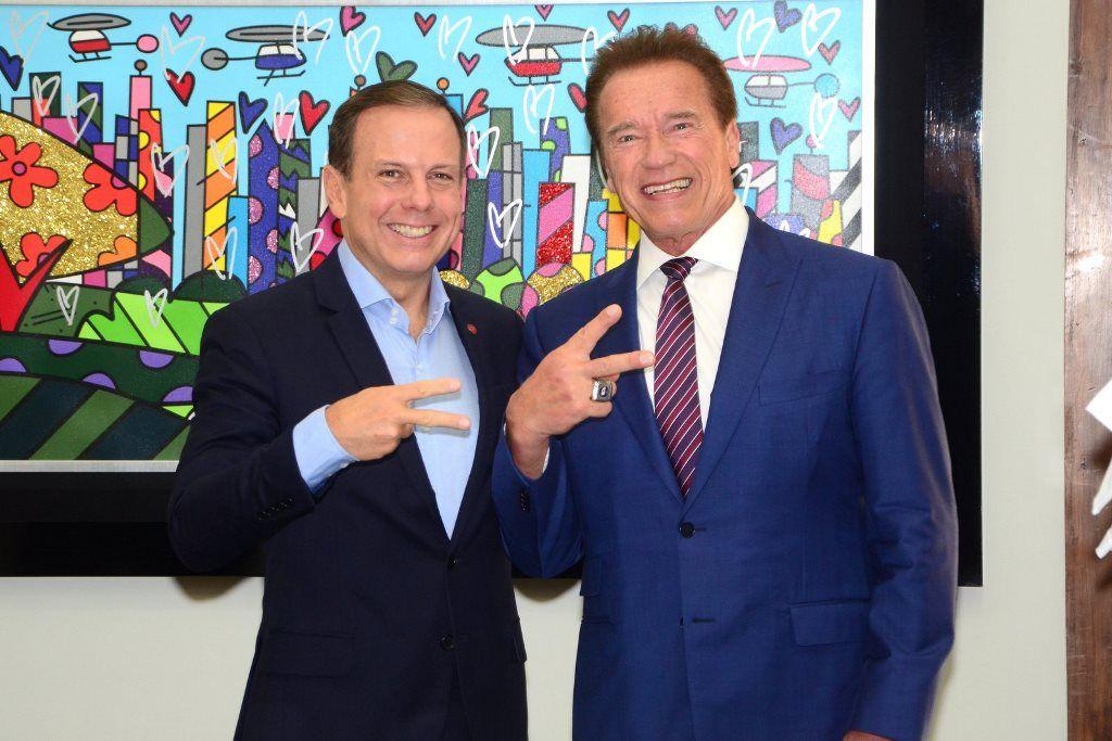 João Doria se encontra com o ator Arnold Schwarzenegger