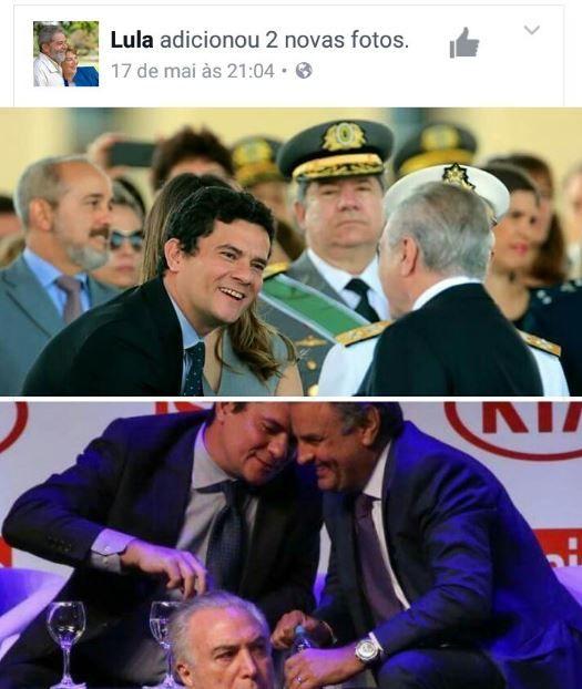 Lula pede que imagens de Moro, Aécio e Temer sejam apagadas