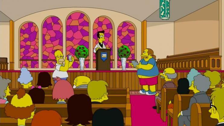 Cena de Homer jogando Pokémon na Igreja / Divulgação