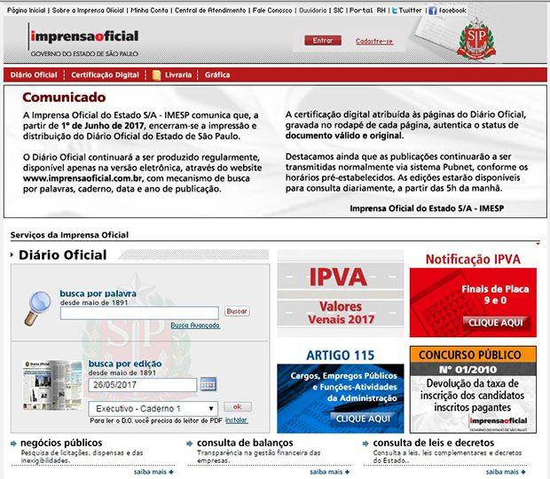 Diário Oficial do Estado de SP perde versão impressa