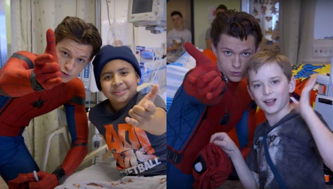 Tom Holland visita crianças doentes vestido de Homem-Aranha