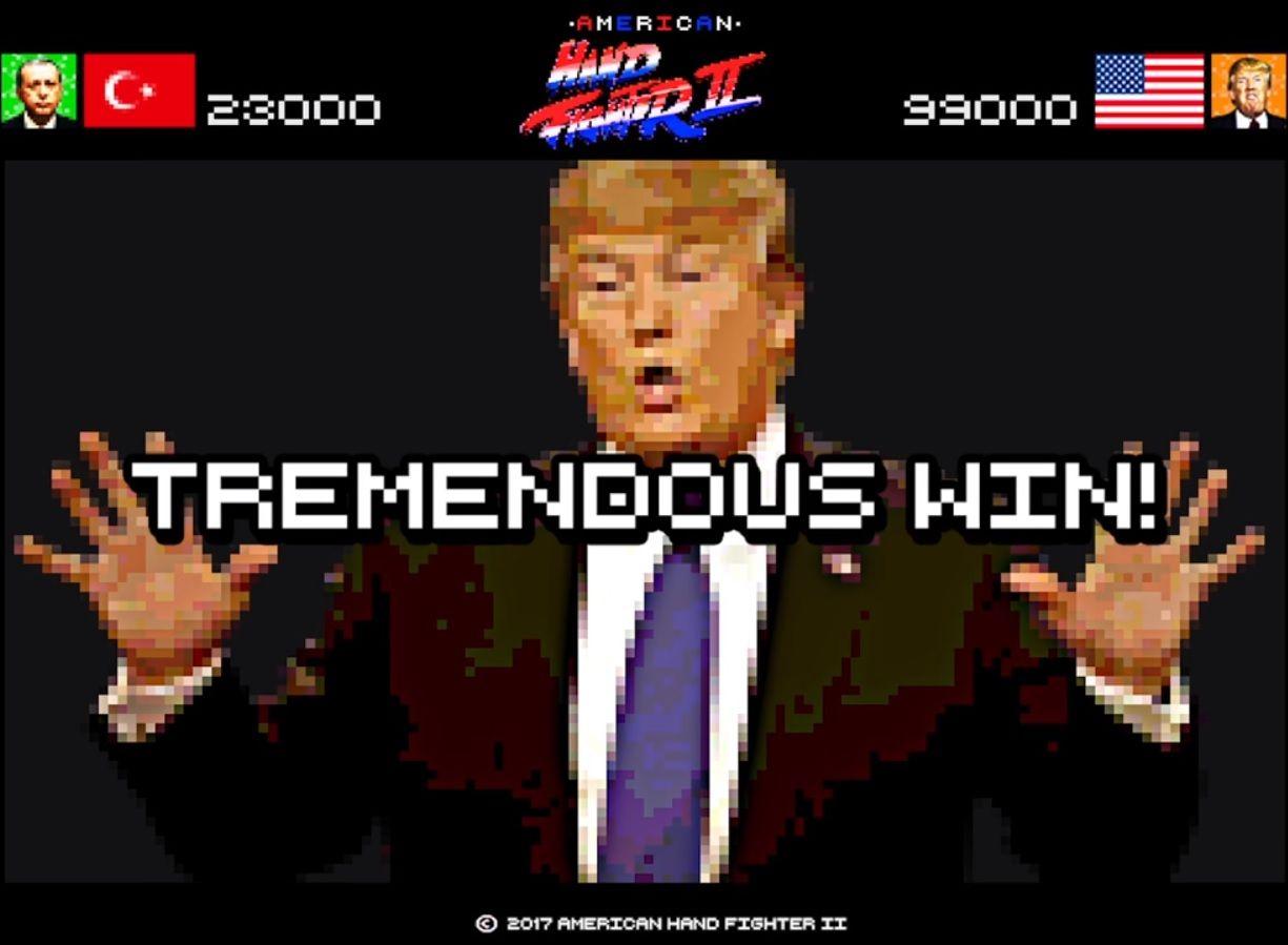 Aperto de mão de Trump vira golpe em vídeo game