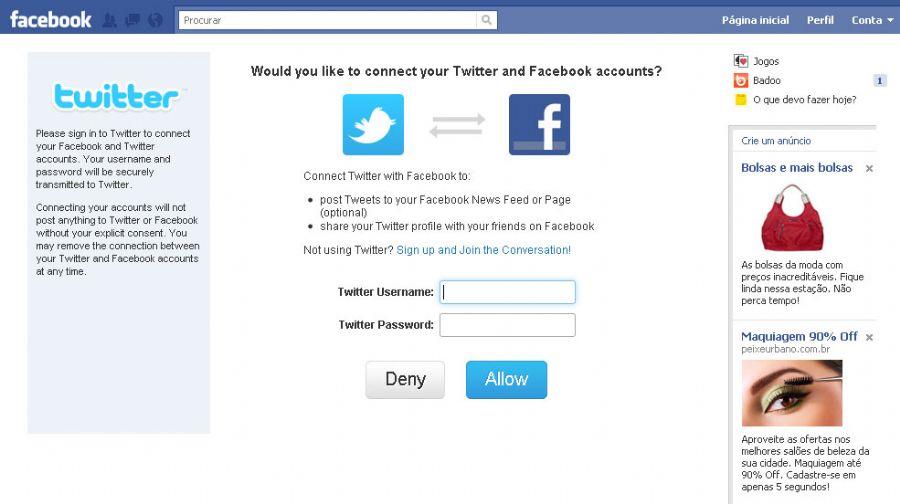 Quando você tuitar alguma coisa, automaticamente vai aparecer no seu perfil do Facebook