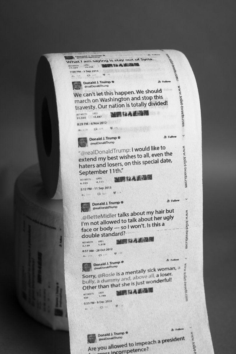 Papel higiênico com tuítes de Trump é sucesso de vendas