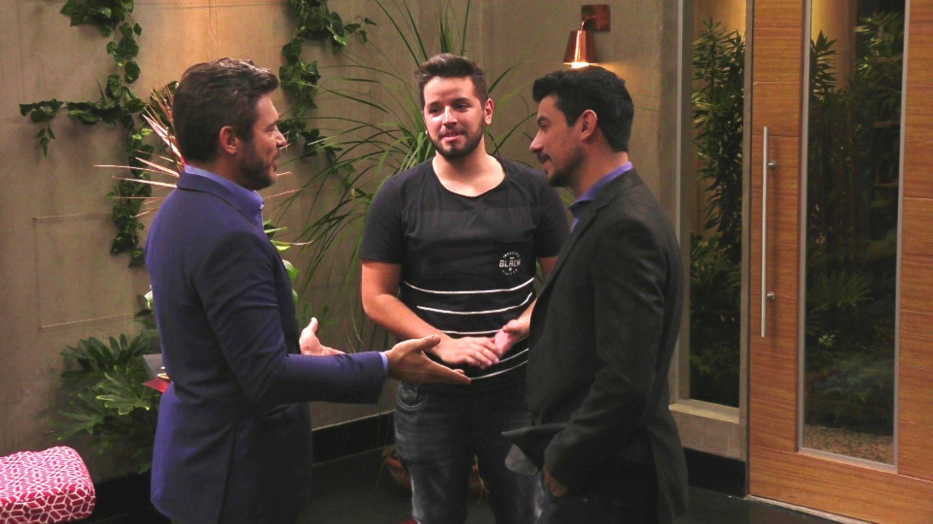 Luigi recebe os amigos Glauco e Célio / Divulgação / Band