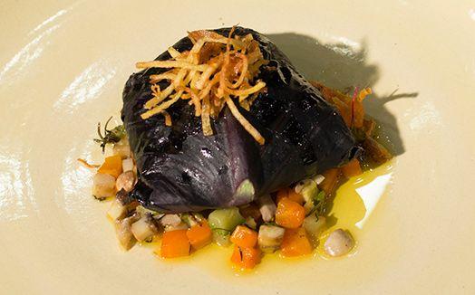 Ragu de pato em folha de repolho e legumes confit com batata