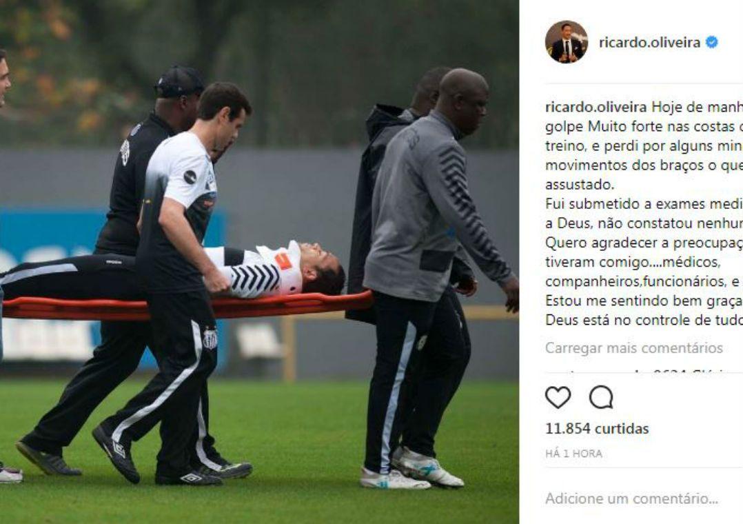 Ricardo Oliveira solta comunicado após susto em treino