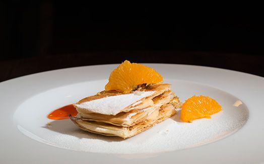 Folhado de tangerina com farofa de pistache