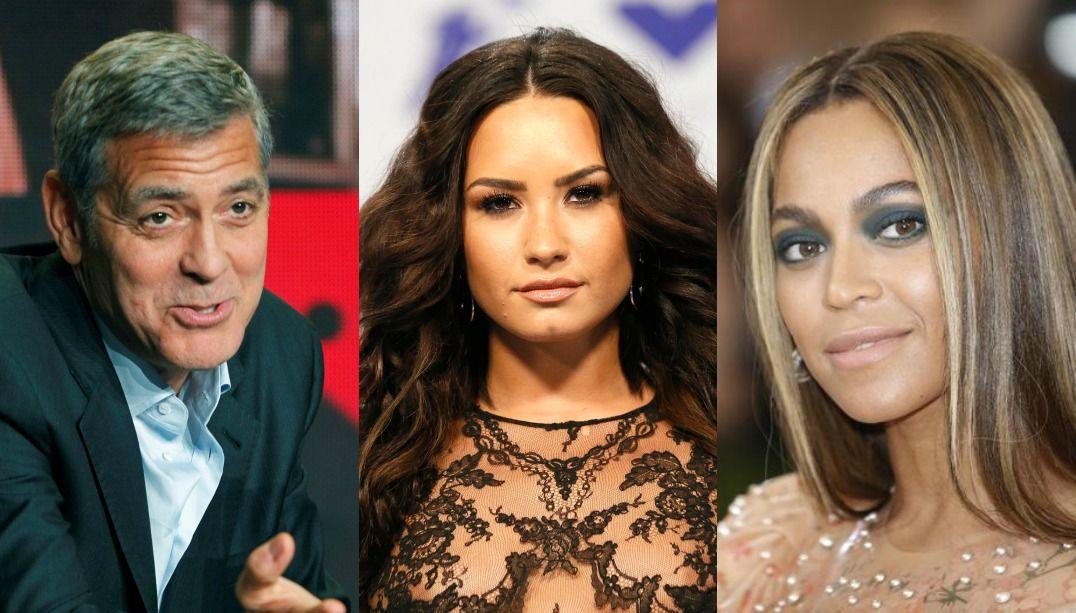 George Clooney, Demi Lovato, Beyoncé e mais / Fred Thornhill, Danny Moloshok e Eduardo Munoz/Reuters