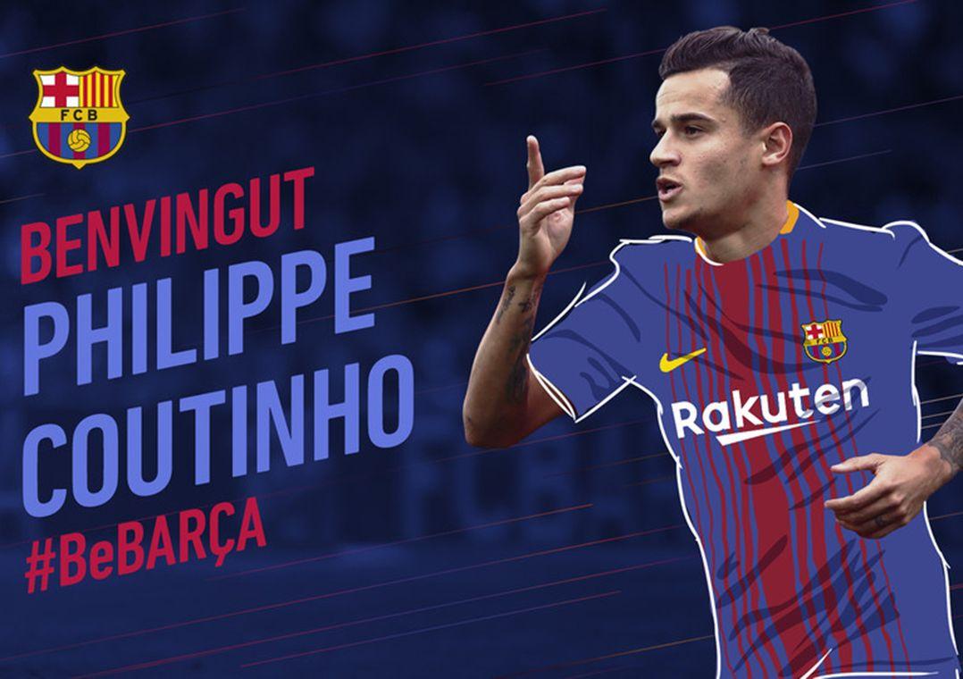 Coutinho vai formar o trio de ataque com Messi e Suárez (Foto  Divulgação FC  Barcelona) a16ef16d46d9d
