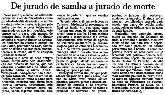 Na Folha de S. Paulo de 15 de fevereiro de 1986, a agonia do maestro Julio Medaglia