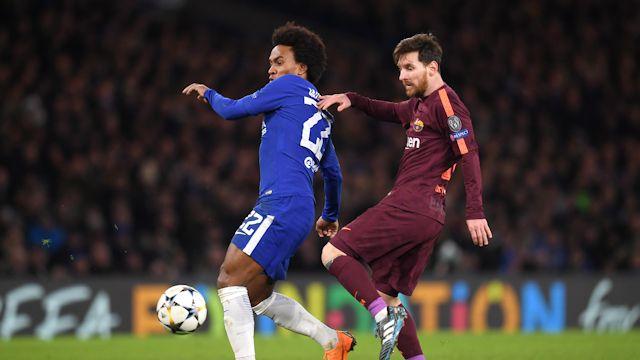 William do Chelsea e Messi do Barcelona / Divulgação Chelsea