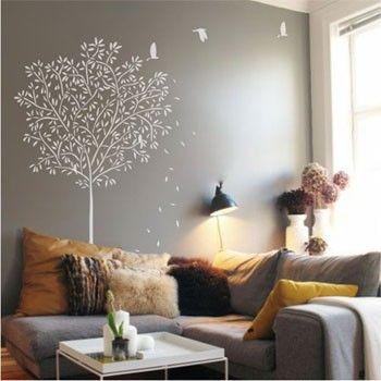 Decora o com adesivo na parede op o criativa e barata - Idee deco salon chaleureux ...