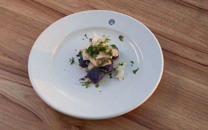 Nhoque de batata doce com lascas de bacalhau